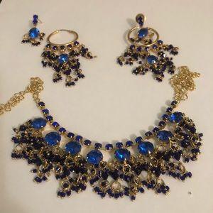 Royal Blue and Gold Punjabi jewelry set